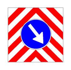 Sinjali në figurë tregon kalim të detyruar nga e djathta e mjetit punues në rrugë, mbi të cilin është i vendosur ky sinjal.