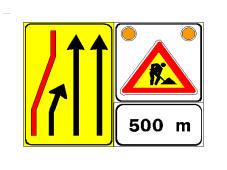 Sinjali në figurë tregon korsitë e karrexhatës që mund të përdoren për shkak të punimeve rrugore.