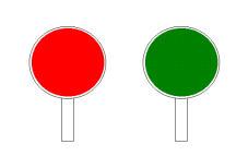 Paraqitja e tabelës me ngjyrë jeshile, si në figurë, u tregon drejtueseve të mjeteve që të vazhdojnë lëvizjen.