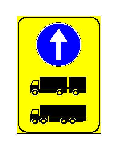 Sinjali në figurë detyron drejtuesit e autotrenave dhe të gjysmërimorkiatorëve të vazhdojnë lëvizjen drejt, për shkak të punimeve në rrugë.