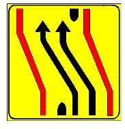 Sinjali në figurë u tregon drejtueseve të mjeteve që të kalojnë nga karrexhata e djathtë në karrexhatën e majtë, për shkak të punimeve në rrugë.