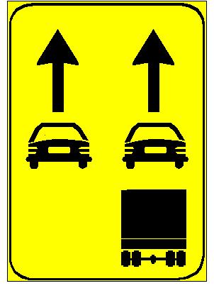 Sinjali në figurë tregon si duhet të përdoren korsitë për kategoritë e ndryshme të mjeteve.