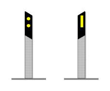 Kufizuesit anësorë në figurë tregojnë kufirin e rrugës me dy sense lëvizje.