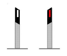 Kufizuesit anësorë në figurë bëjnë të mundur dallimin e vazhdimësisë së rrugës interurbane me një karrexhatë dhe dy sense lëvizje.