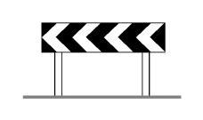 Shigjetat e kufizuesit në figurë tregojnë se kthesa e fortë është majtas.