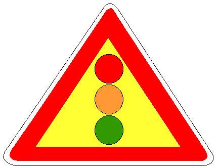Sinjali në figurë paralajmëron semafor që rregullon lëvizjen në një urë të lëvizshme.