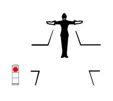 Pozicioni i punonjësit të policisë rrugore, si në figurë, ndalon të futen në kryqëzim mjetet që ndodhen përballë tij.