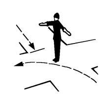 Pozicioni i punonjësit të policisë rrugore si në figurë lejon mjetet që ndodhen në të majtë të tij që të vazhdojnë lëvizjen drejt në kryqëzim.
