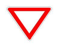 Sinjali në figurë na detyron tu japim përparësis në kryqëzim, mjeteve që vijnë nga e majta dhe nga e djathta.