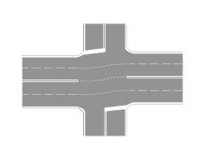 Sinjalistika në figurë tregon që mjetet në karrexhatën me katër korsi duhet të rritin shpejtësinë në afërsi të kryqëzimit.