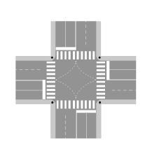 Vijat drejtuese në kryqëzimin si në figurë, për t'u kthyer djathtas, duhet t'i lëmë në të djathtën tonë.