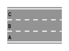 Sinjalistika në figurë tregon një karrexhatë me tre korsi.