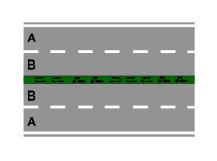Në rrugën e paraqitur në figurë ndalohet parakalimi i mjeteve në kurrize rruge.
