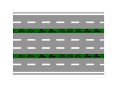 Rruga e paraqitur në figurë është e përbërë nga tre karrexhata.