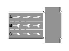 Sipas sinjalistikës në figurë, mjeteve në korsitë A, B dhe C ju ndalohet lëvizja drejt në kryqëzim.