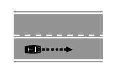 Sipas sinjalistikës horizontale të paraqitur, mjeti në figurë lejohet të kryejë manovrën e parakalimit duke e kapërcyer vijën gjatësore.