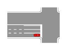 Mjetit të pozicionuar si në figurë i ndalohet të kthehet majtas.