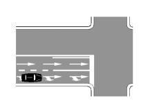 Mjeti i pozicionuar si në figurë mund të vazhdojë lëvizjen drejt ose të kthehet djathtas.