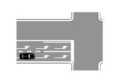 Mjetit të pozicionuar si në figurë i lejohet të lëvize drejt.