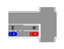 """Sipas sinjalistikës në figurë dhe në prani të sinjalit vertikal """"Ndal dhe jep përparësi"""", mjetet E dhe H detyrohen të ndalojnë para vijës së ndalimit."""