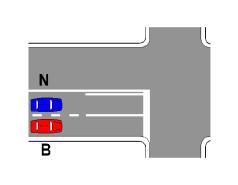 Sipas sinjalistikës në figurë, mjeti B, nëse kthehet djathtas, duhet të ndezë sinjalin e djathtë, pas kthimit.