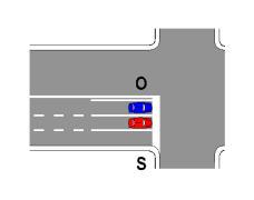 Sipas sinjalistikës në figurë, mjeti S lejohet të kalojë kryqëzimin pa ndaluar para kryqëzimit edhe pse është ndezur feneri i kuq i semaforit.