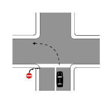 Sinjalistika në figurë tregon se mjeti, i pozicionuar si në figurë, është në një karrexhatë me një sens lëvizje.