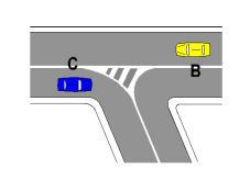 Sipas sinjalistikës në figurë, mjeti C është i detyruar të kthehet djathtas.