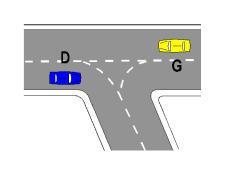 Sipas sinjalistikës në figurë, nëse mjeti G do të kthehet majtas, duhet të ketë ndezur sinjalin e majtë dhe të presë kalimin e mjetit D.
