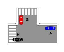 Sipas sinjalistikës në figurë, në këtë kryqëzim duhet të japim përparësi nga e majta dhe nga e djathta.