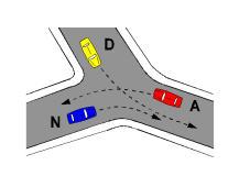 Në kryqëzimin e paraqitur në figurë, radha e kalimit të mjeteve është: A, N, D.