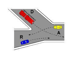 Në kryqëzimin e paraqitur në figurë, radha e kalimit të mjeteve është: D, A, R.
