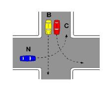Në kryqëzimin e paraqitur në figurë, mjeti N kalon i pari.