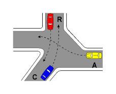 Në kryqëzimin e paraqitur në figurë, mjeti C kalon i dyti.