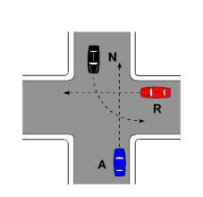 Në kryqëzimin e paraqitur në figurë, mjeti N hyn i fundit në qendër të kryqëzimit.