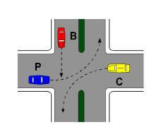 Në kryqëzimin e paraqitur në figurë, mjeti B duhet të presë të kalojë mjeti P.