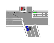 Në kryqëzimin e paraqitur në figurë, mjeti C kalon i pari sepse i duhet të lëvizë drejt.