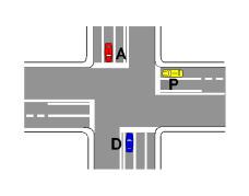 Në kryqëzimin e paraqitur në figurë, mjeti P mund të lëvizë drejt ose të kthehet djathtas.