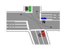 Në kryqëzimin e paraqitur në figurë, mjeti C është pozicionuar ne korsi të gabuar.