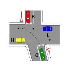 Në kryqëzimin e paraqitur në figurë, mjeti B kalon pas mjeteve H e L.