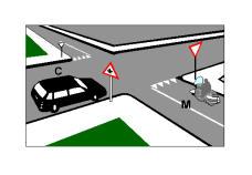 Në kryqëzimin e paraqitur në figurë, drejtuesi i mjetit C, sapo shikon sinjalin vertikal është i detyruar të ndalojë.