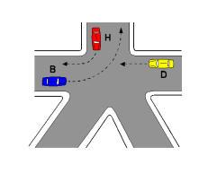 Në kryqëzimin e paraqitur në figurë, mjeti H kalon i pari.