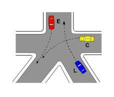 Në kryqëzimin e paraqitur në figurë, mjetet C dhe E kalojnë njëkohësisht.