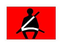 Simboli në figurë bëhet i dukshëm në kroskot kur pasagjeri nuk ka vendosur rripin e sigurimit.