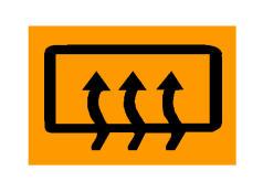 Simboli në figurë bëhet i dukshëm në kroskot kur ventilimi apo ngrohja e xhamit të përparmë është në funksion.