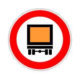 Sinjali në figurë ndalon qarkullimin e mjeteve që transportojnë mallra të rrezikshme.