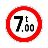 Sinjali në figurë ndalon qarkullimin e mjeteve me peshë faktike mbi 7 tonë.
