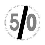 Sinjali në figurë tregon fundin e kufizimit të shpejtësisë prej 50 km/orë, të vendosur më parë.