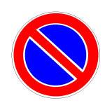 Sinjali në figurë, i vendosur në rrugë interurbane, ndalon pushimin gjatë 24 orëve.