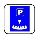 Sinjali në figurë tregon një vend parkimi me pagesë fikse.